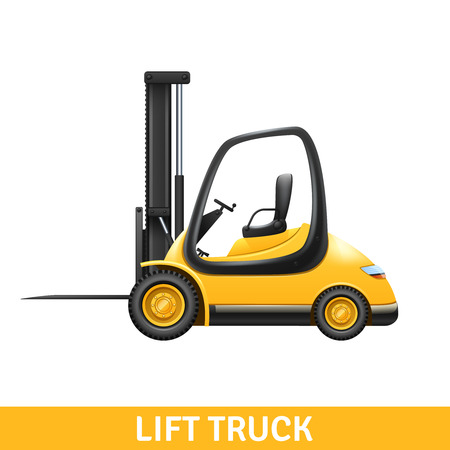 unloading: Yellow small lift truck for loading and unloading at warehouse realistic vector illustration Stock Illustratie