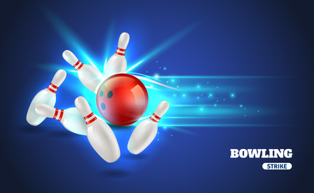 bowling strike: Bowling strike with ball and bowling pins on blue background realistic vector illustration