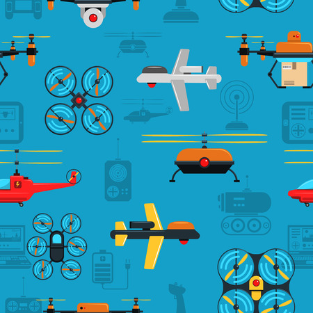 drones: Drones seamless background with flying and caterpillar drones flat vector illustration Illustration
