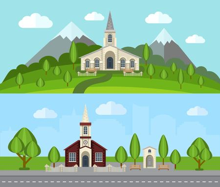 church building: Church buildings in countryside landscape flat horizontal banner set isolated vector illustration