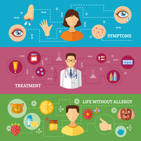 medical treatment: Allergy symptoms medical treatment relief and rescue three horizontal flat color banners isolated vector illustration