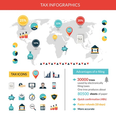 tax: Tax paying and finance infographics set with world map vector illustration