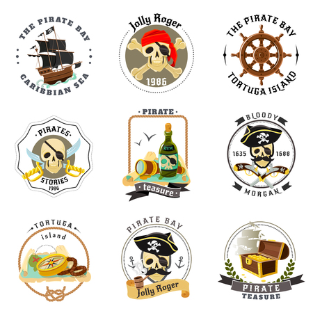 treasure: Caribbean sea pirates emblems set with ship helm and tortuga island treasures map abstract isolated vector illustration