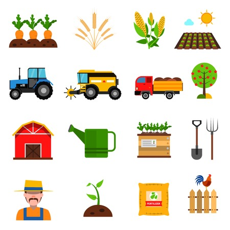 harvest: Agriculture flat icons set with farmer and harvest symbols isolated vector illustration