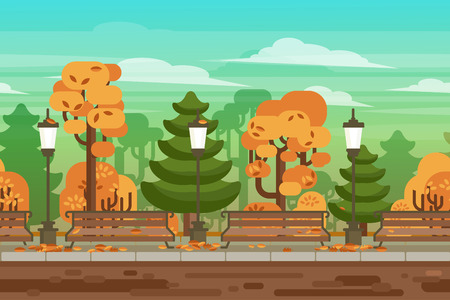 autumn park: Computer and handheld electronic devices interactive video game seamless autumn park landscape border background abstract vector illustration