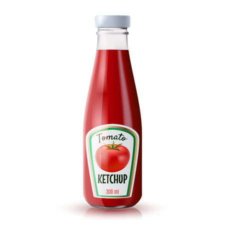 Traditional glass tomato ketchup bottle isolated on white background realistic vector illustration