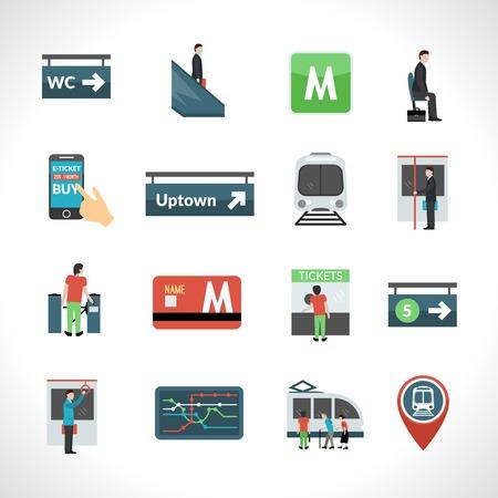 Subway metro and public underground transport icons set isolated vector illustration Illustration