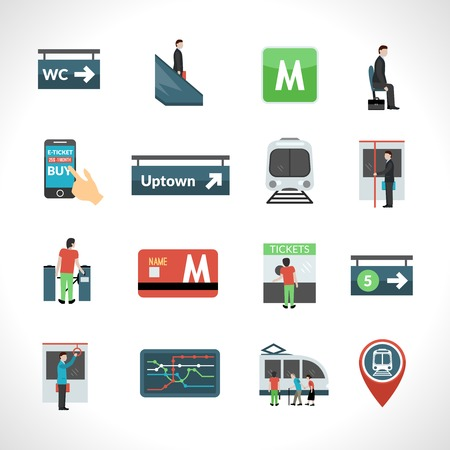 Subway metro and public underground transport icons set isolated vector illustration Иллюстрация
