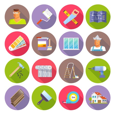 diy: Renovation flat icons set with diy tools isolated vector illustration