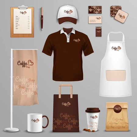 brand: Coffee shop corporate identity and branding design of packages and menu icons set abstract isolated vector illustration Illustration