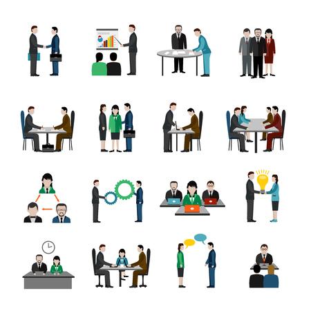 simbolo uomo donna: Lavoro di squadra icone impostato con uomini d'affari personaggi illustrazione vettoriale isolato Vettoriali