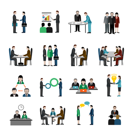 Teamwork icons set with business people characters isolated vector illustration Çizim