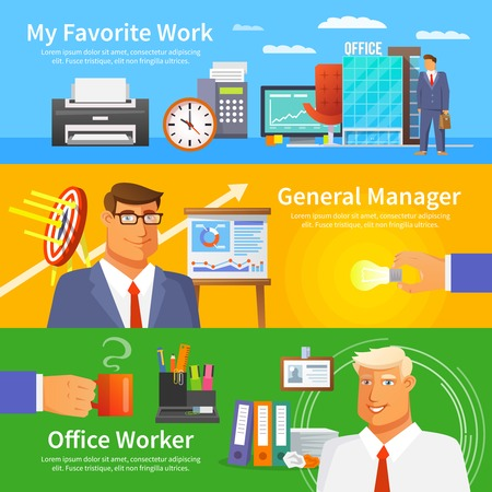 work worker: Office horizontal banner set with work items and worker avatars flat isolated vector illustration