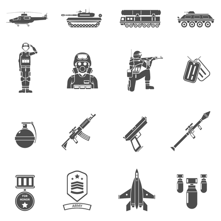 respirator: Army black white icons set with army transport uniform and weapons flat isolated vector illustration