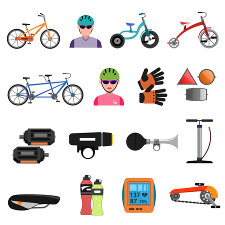 biking glove: Bicycle sport icons flat set with cycling accessories isolated vector illustration Illustration