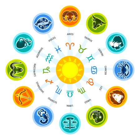 Zodiac circle concept with astrology constellation signs set vector illustration 版權商用圖片 - 45807107
