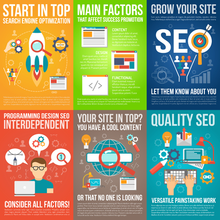 seo: Web poster set with seo and website development symbols isolated vector illustration