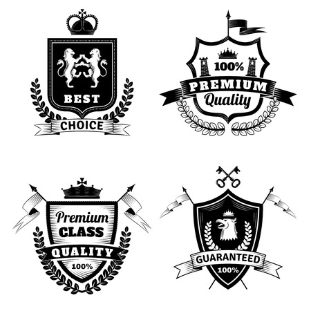 紋章付き外衣フラット分離ベクトル図と紋章最高選択黒白いエンブレム セットします。  イラスト・ベクター素材