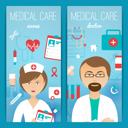 cartoon hand: Medical personal doctor assistant and nurse characters with accessories 2 vertical banners poster print abstract vector illustration