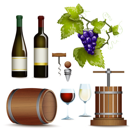 bunch of grapes: Traditional vinery farm production with  grape press and red wine bottle flat icons collection abstract vector illustration