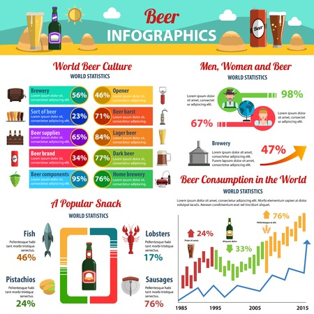 mini bar: Beer infographics set with food and drink symbols and charts vector illustration