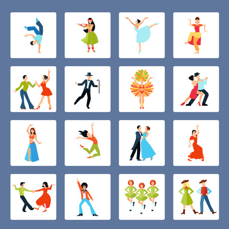 tap dance: Various styles solo and pairs dancing with social ethnic and latin dances isolated vector illustration