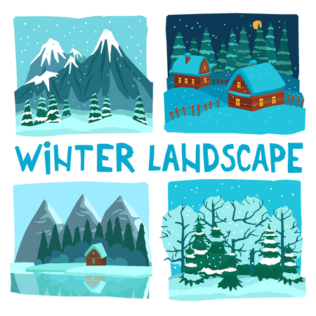 hamlet: Winter landscape in digital graphic or video game style flat color concept isolated vector illustration
