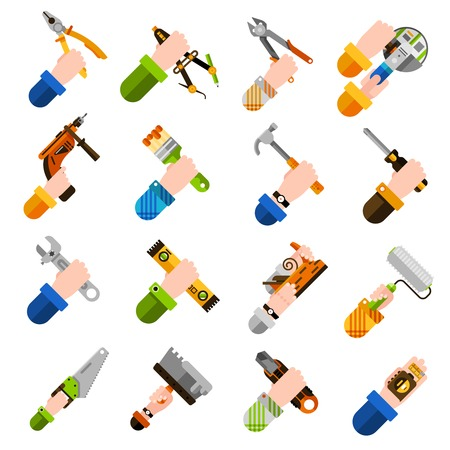 hands holding house: DIY concept with hands holding house renovation tools isolated vector illustration