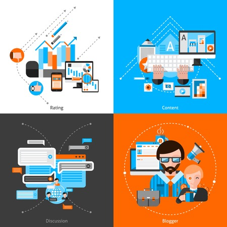 content: Blogging design concept set with flat rating and content icons isolated vector illustration