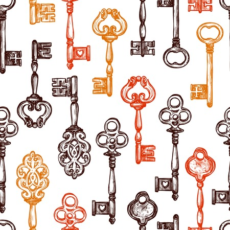 key: Vintage old style decorated keys hand drawn seamless pattern vector illustration