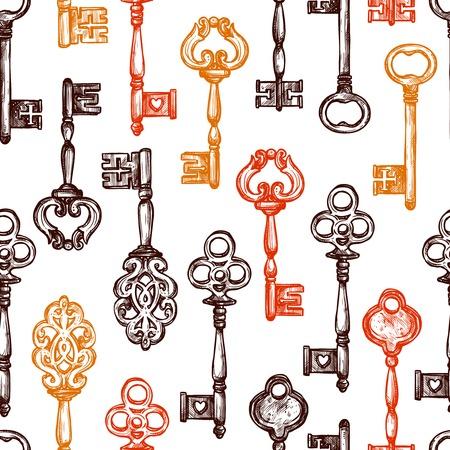 skeleton key: Vintage old style decorated keys hand drawn seamless pattern vector illustration