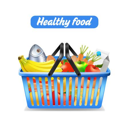 food basket: Supermarket shopping basket full of healthy food isolated on white background vector illustration Illustration