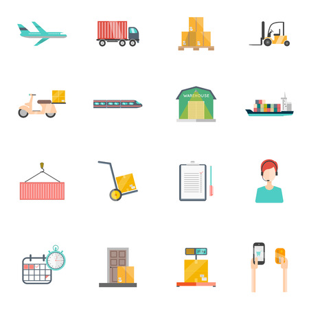 illustration isolated: Logistics icons set with transportation storage and time symbols flat isolated vector illustration Illustration
