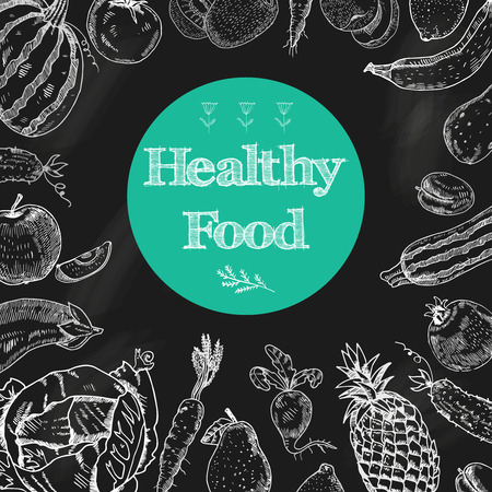 Healthy food diet blackboard background with fruits and vegetables arrangement in white chalk doodle  abstract vector illustration