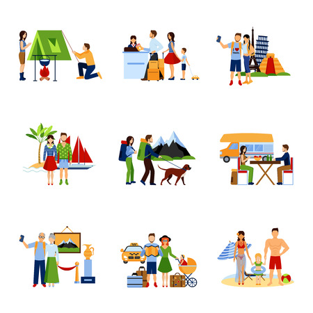 Different options of vacation and traveling for couples and families flat images set isolated vector illustration Иллюстрация
