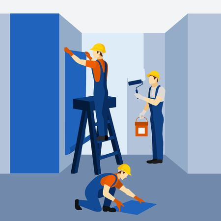 renovation: Modern apartment building block renovation and refurnishing with paint and wallpaper flat icon banner abstract vector illustration