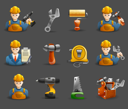 character abstract: Construction remodeling and renovation service isometric icons collection with tools and worker character abstract isolated vector illustration Illustration