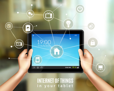 energy management: Smart home management concept with realistic hands holding tablet device vector illustration