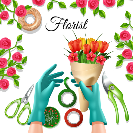 still life flowers: Flowers in bunch with florist equipment and tools tulip and rose colorful concept vector illustration