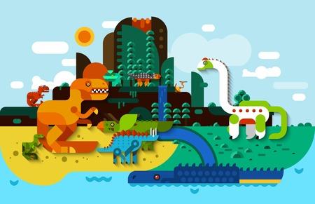 dinosaurus: Dinosaur flat background with predators in prehistoric landscape vector illustration