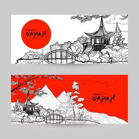 chinese pagoda: Japan horizontal banner set with sunrise pagoda landscape hand drawn isolated vector illustration
