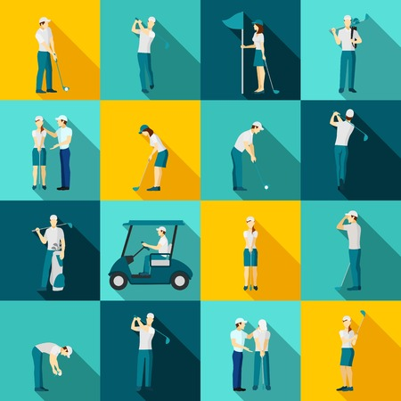 shadow people: People playing golf flat long shadow icons set isolated vector illustration Illustration