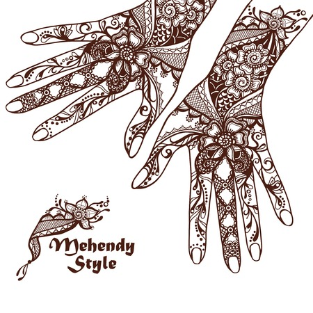 henna: Decorative hands with traditional hindu henna tattoos sketch vector illustration