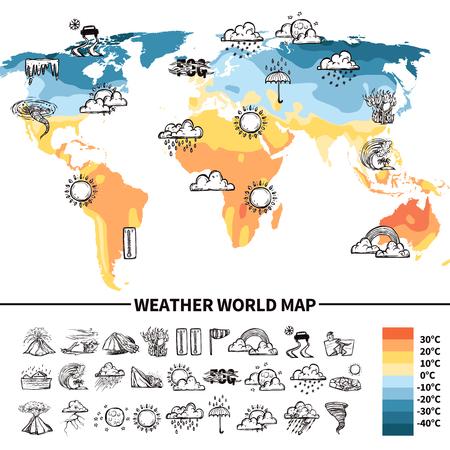 meteo: concetto di design meteorologia con schizzo simboli di previsioni meteo sui illustrazione mondo mappa vettoriale Vettoriali