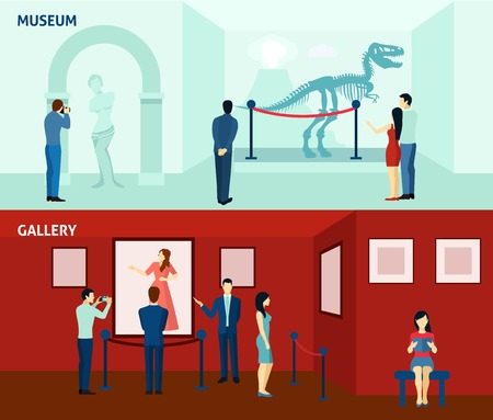 museums: Art gallery visitors and antique museum of paleontology 2 flat banners composition poster abstract isolated vector illustration