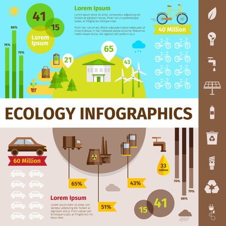 pollution: Ecology infographic set with nature and pollution symbols flat vector illustration