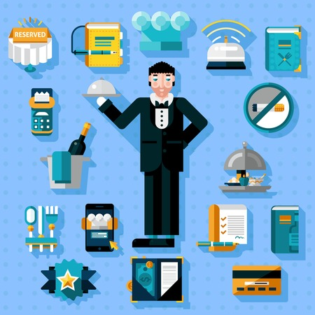 serving food: Restaurant services icons set with butler figure serving food isolated vector illustration Illustration