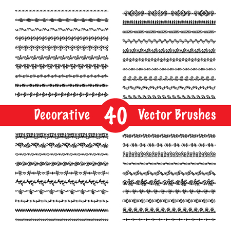 brushes: Decorative vector brush and art borders black set isolated illustration Illustration