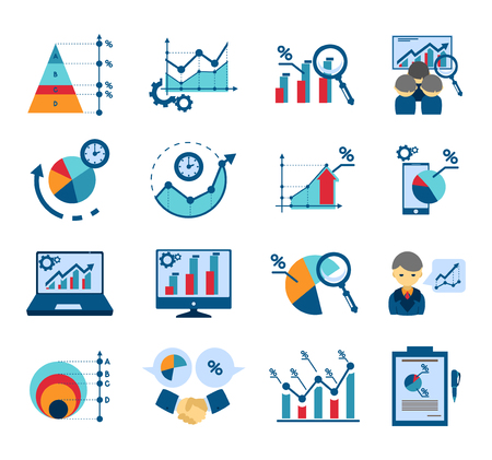 techniques: Data analysis techniques for effective business management and market research flat icons collections  abstract isolated vector illustration