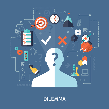 dilemma: Dilemma concept with target plan and strategy symbols on blue background flat vector illustration Illustration